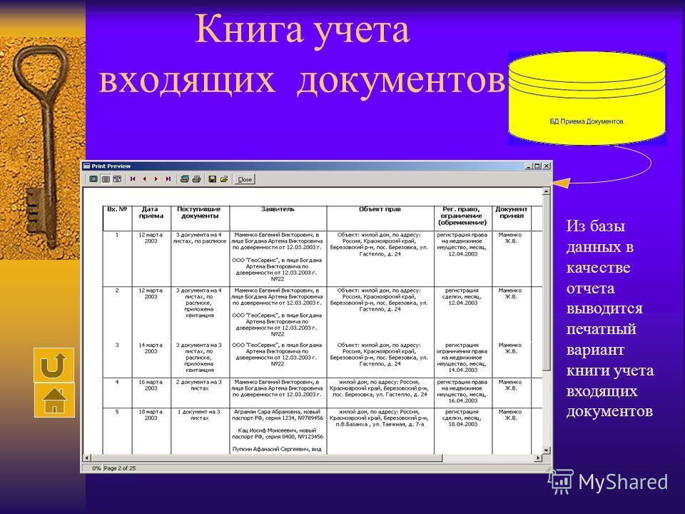 Книга учета входящих документов Из базы данных в качестве отчета выводится печатный вариант книги учета входящих документов