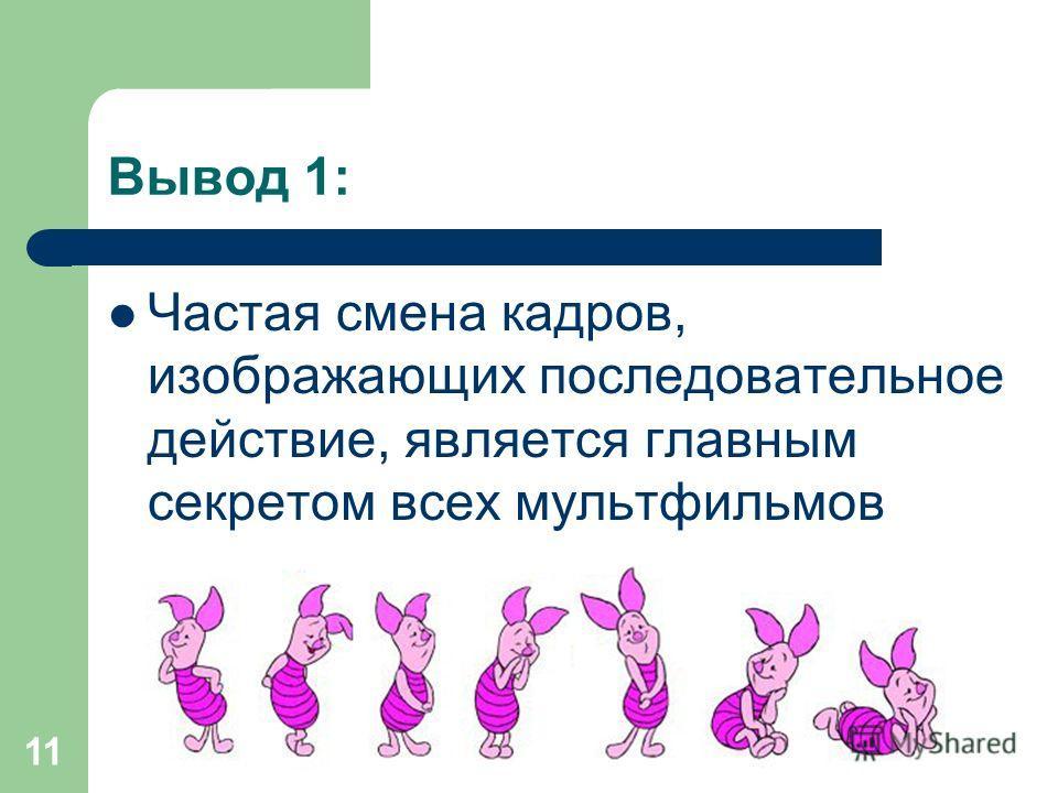 Вывод 1: Частая смена кадров, изображающих последовательное действие, является главным секретом всех мультфильмов 11