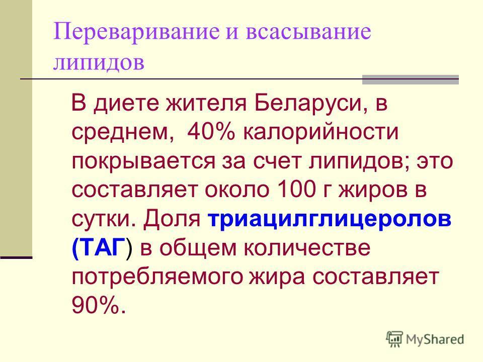 Переваривание и всасывание липидов В диете жителя Беларуси, в среднем, 40% калорийности покрывается за счет липидов; это составляет около 100 г жиров в сутки. Доля триацилглицеролов (ТАГ) в общем количестве потребляемого жира составляет 90%.