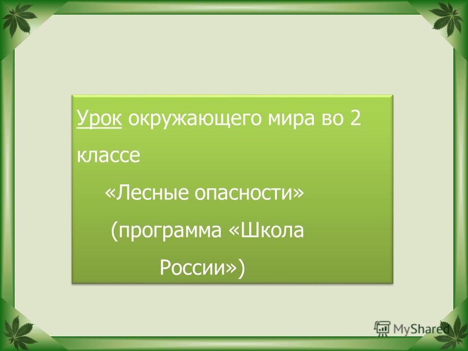 Урок окружающего мира во 2 классе «Лесные опасности» (программа «Школа России») Урок окружающего мира во 2 классе «Лесные опасности» (программа «Школа России»)