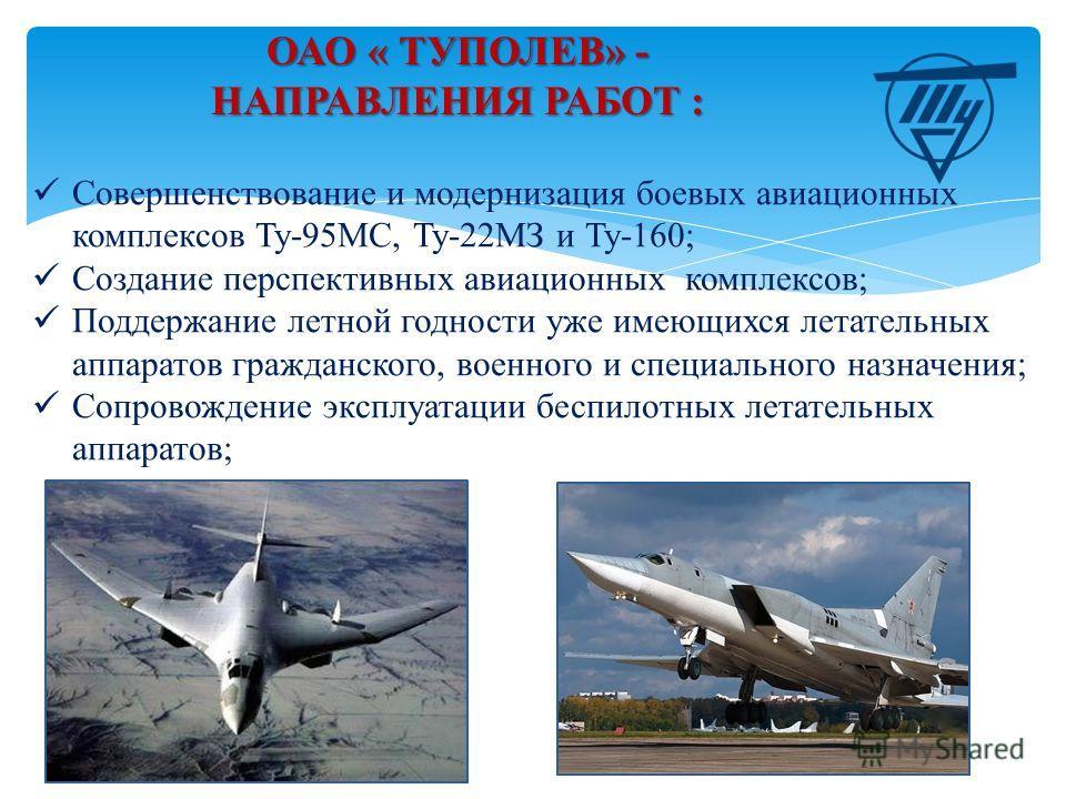 Совершенствование и модернизация боевых авиационных комплексов Ту-95МС, Ту-22МЗ и Ту-160; Создание перспективных авиационных комплексов; Поддержание летной годности уже имеющихся летательных аппаратов гражданского, военного и специального назначения;