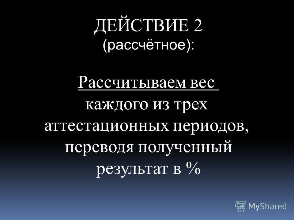 ДЕЙСТВИЕ 2 (рассчётное): Рассчитываем вес каждого из трех аттестационных периодов, переводя полученный результат в %
