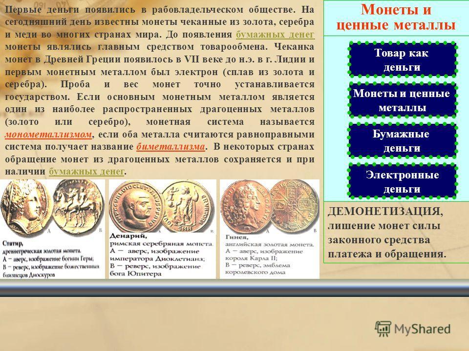 Товар как деньги Товар как деньги Монеты и ценные металлы Бумажные деньги Электронные деньги В традиционном обществе в качестве денег выступают различные товары. Особенно это было свойственно для первобытной и феодальной эпох. При рабовладельческом с