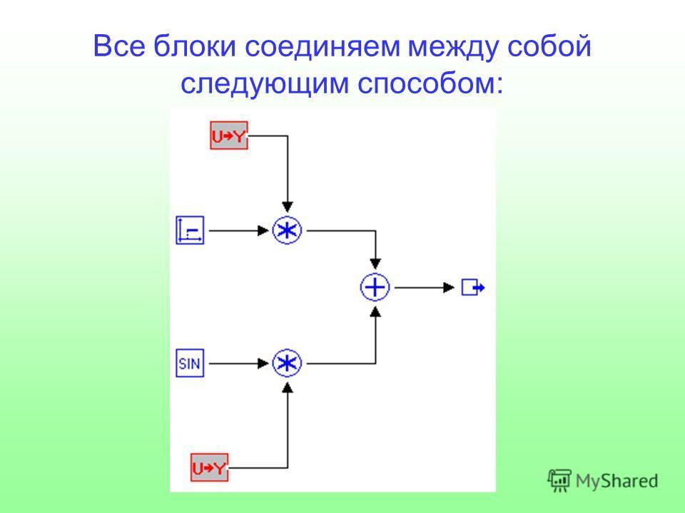 Все блоки соединяем между собой следующим способом: