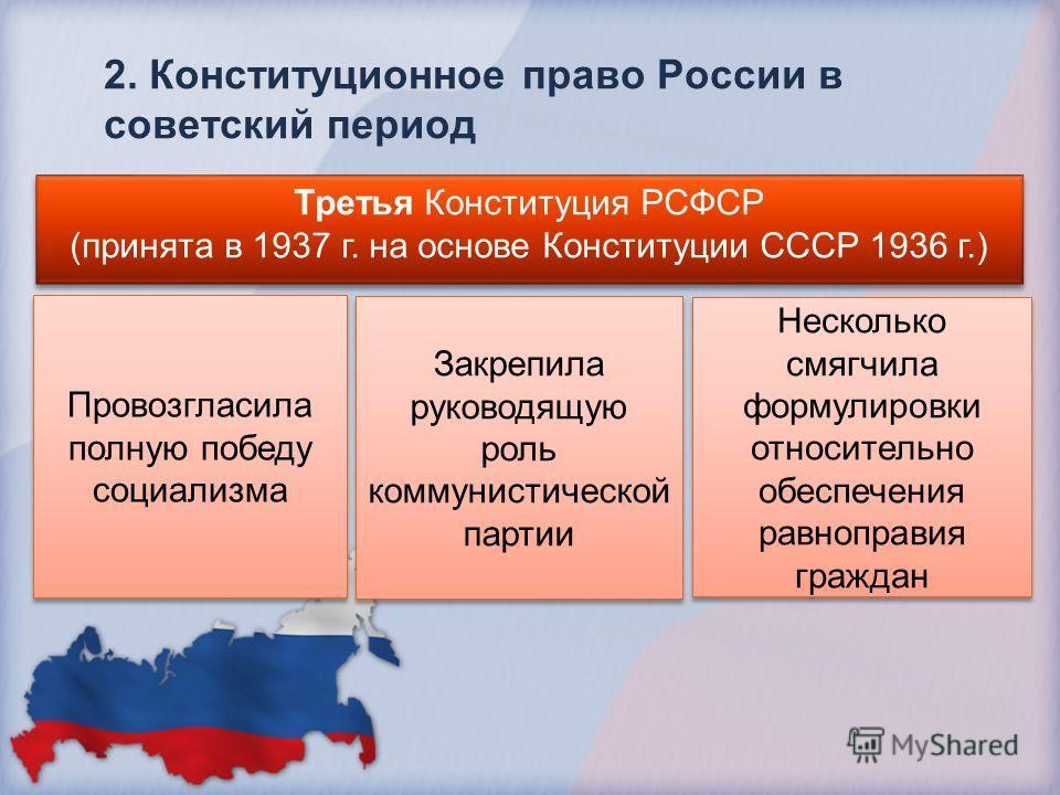 2. Конституционное право России в советский период Третья Конституция РСФСР (принята в 1937 г. на основе Конституции СССР 1936 г.) Третья Конституция РСФСР (принята в 1937 г. на основе Конституции СССР 1936 г.) Провозгласила полную победу социализма
