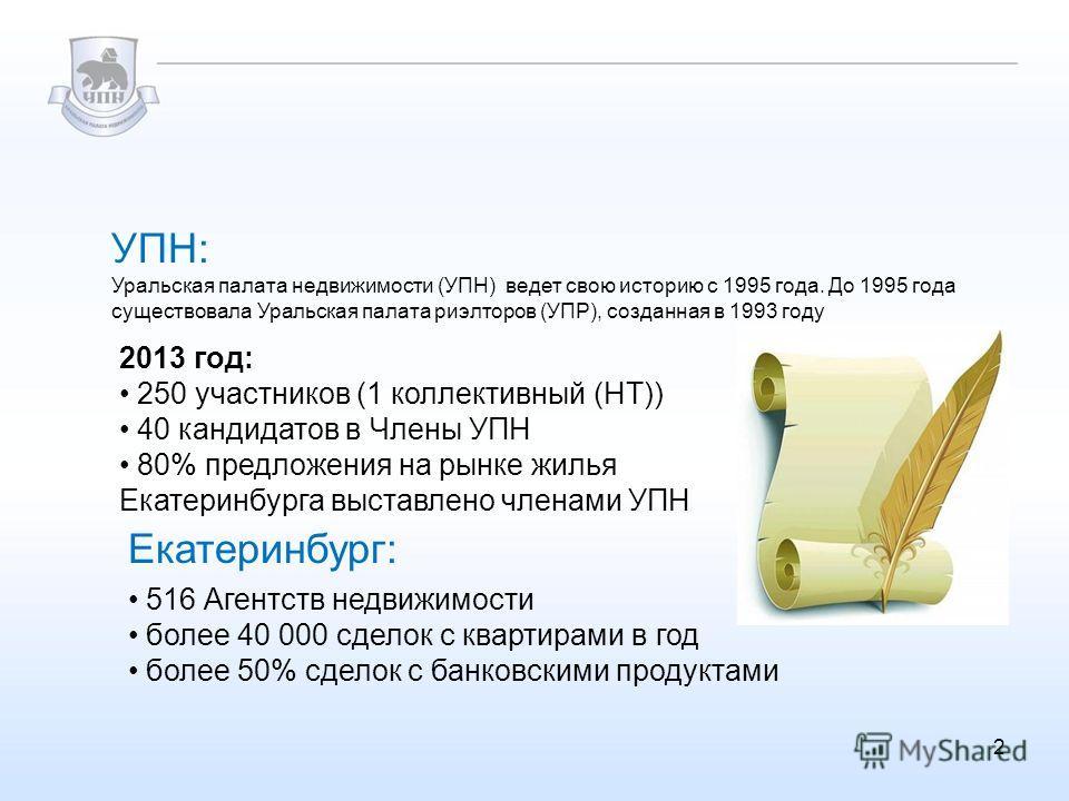 УПН: 2 2013 год: 250 участников (1 коллективный (НТ)) 40 кандидатов в Члены УПН 80% предложения на рынке жилья Екатеринбурга выставлено членами УПН Уральская палата недвижимости (УПН) ведет свою историю с 1995 года. До 1995 года существовала Уральска