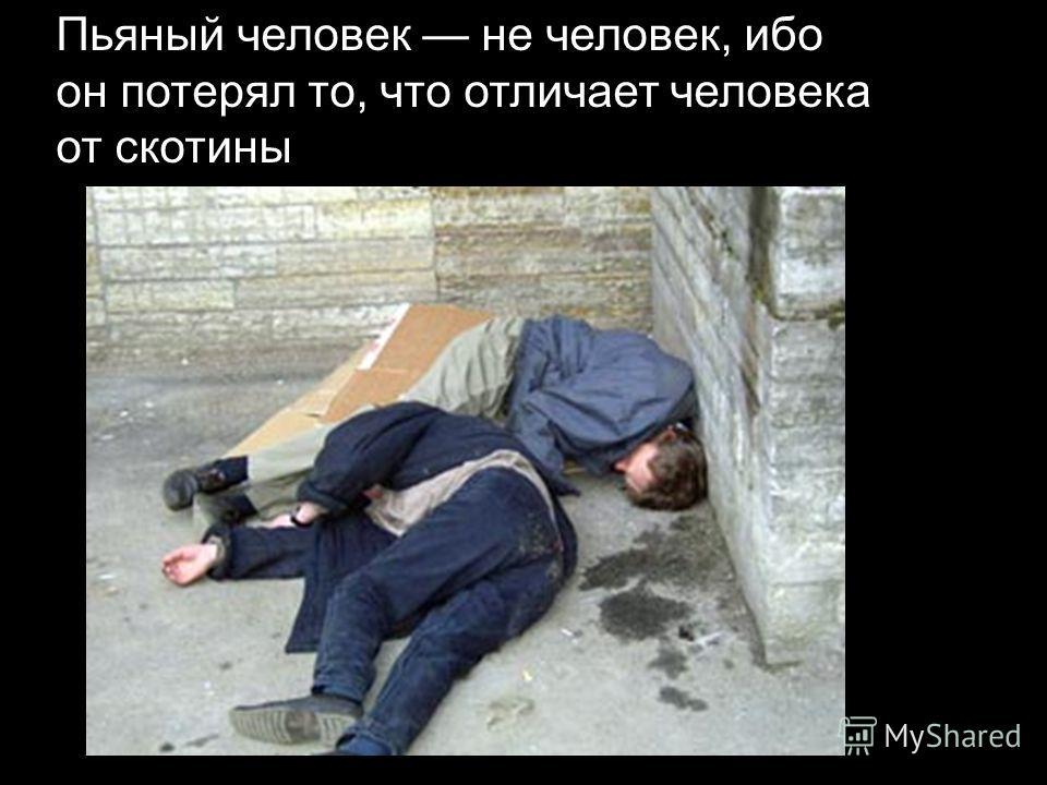 Пьяный человек не человек, ибо он потерял то, что отличает человека от скотины