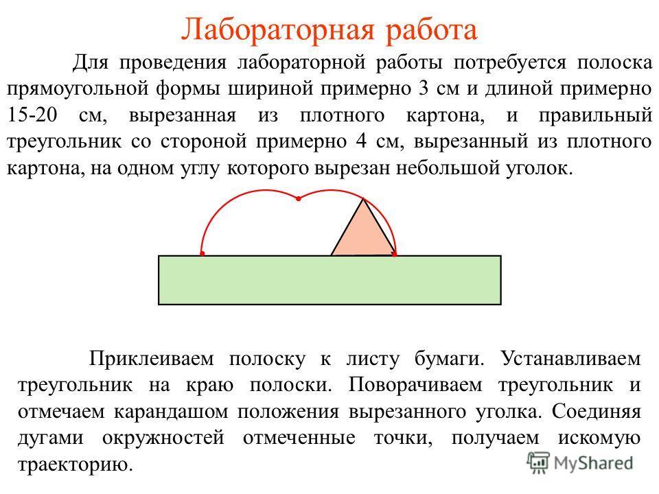Лабораторная работа Для проведения лабораторной работы потребуется полоска прямоугольной формы шириной примерно 3 см и длиной примерно 15-20 см, вырезанная из плотного картона, и правильный треугольник со стороной примерно 4 см, вырезанный из плотног