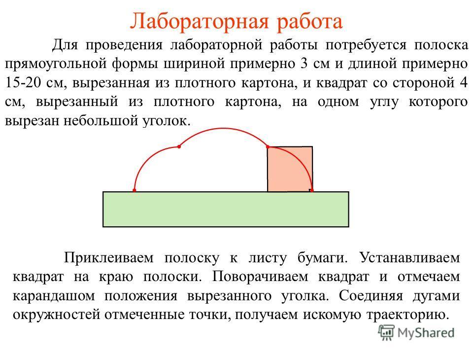 Лабораторная работа Для проведения лабораторной работы потребуется полоска прямоугольной формы шириной примерно 3 см и длиной примерно 15-20 см, вырезанная из плотного картона, и квадрат со стороной 4 см, вырезанный из плотного картона, на одном углу