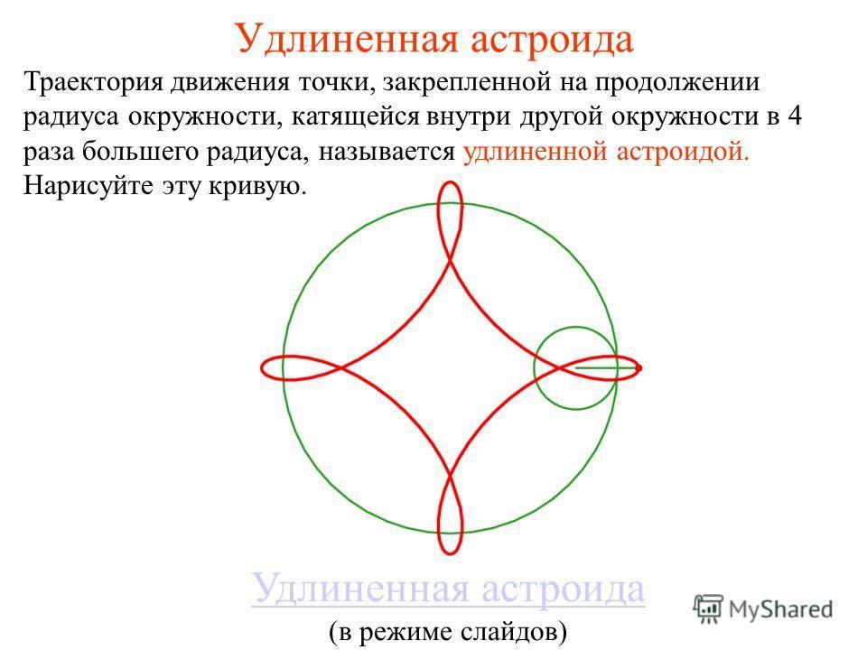 Удлиненная астроида Траектория движения точки, закрепленной на продолжении радиуса окружности, катящейся внутри другой окружности в 4 раза большего радиуса, называется удлиненной астроидой. Нарисуйте эту кривую. Удлиненная астроида (в режиме слайдов)