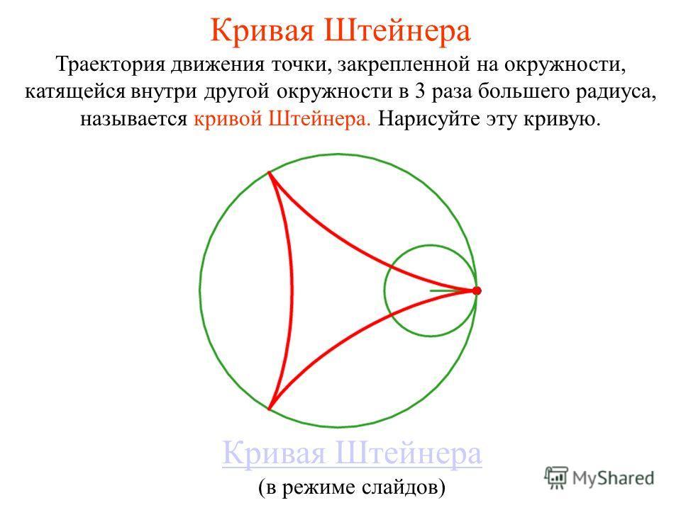 Кривая Штейнера Траектория движения точки, закрепленной на окружности, катящейся внутри другой окружности в 3 раза большего радиуса, называется кривой Штейнера. Нарисуйте эту кривую. Кривая Штейнера (в режиме слайдов)