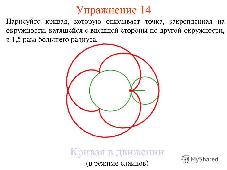 Упражнение 14 Нарисуйте кривая, которую описывает точка, закрепленная на окружности, катящейся с внешней стороны по другой окружности, в 1,5 раза большего радиуса. Кривая в движении (в режиме слайдов)