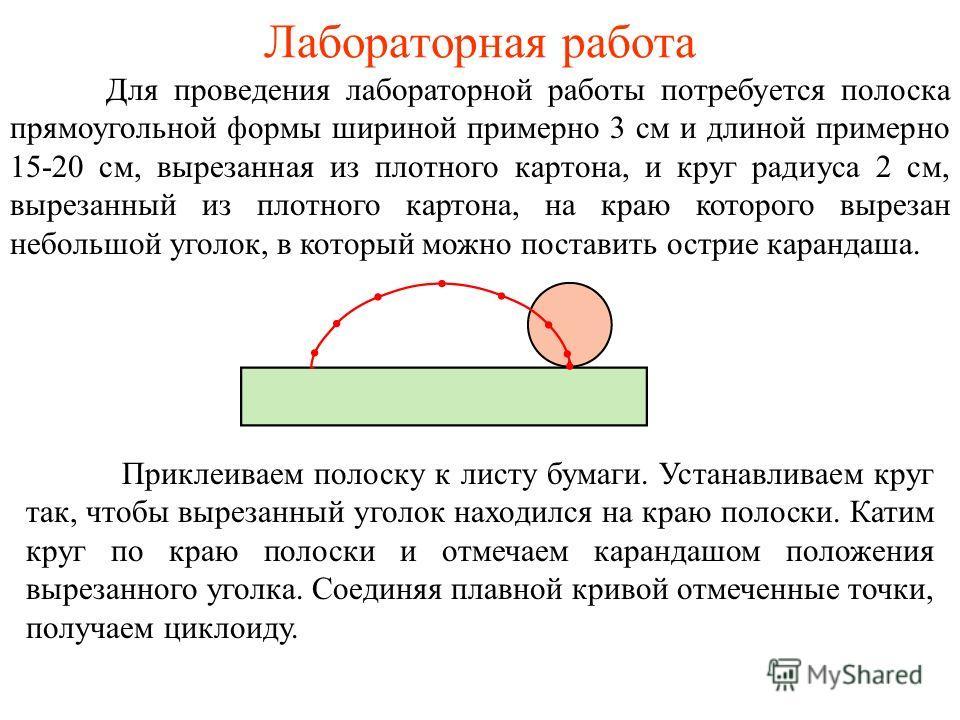 Лабораторная работа Для проведения лабораторной работы потребуется полоска прямоугольной формы шириной примерно 3 см и длиной примерно 15-20 см, вырезанная из плотного картона, и круг радиуса 2 см, вырезанный из плотного картона, на краю которого выр