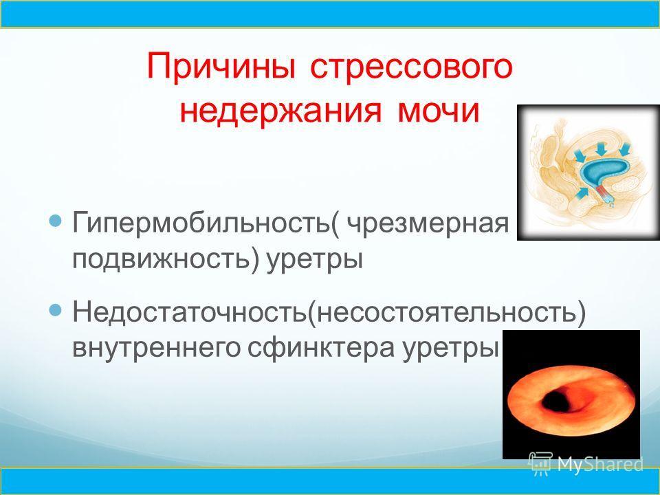 Причины стрессового недержания мочи Гипермобильность( чрезмерная подвижность) уретры Недостаточность(несостоятельность) внутреннего сфинктера уретры Ч Ч
