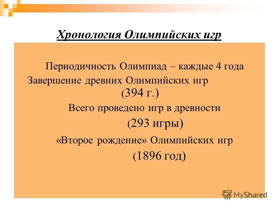 Хронология Олимпийских игр Периодичность Олимпиад – каждые 4 года Завершение древних Олимпийских игр ( 394 г.) Всего проведено игр в древности ( 293 игры) «Второе рождение» Олимпийских игр ( 1896 год)
