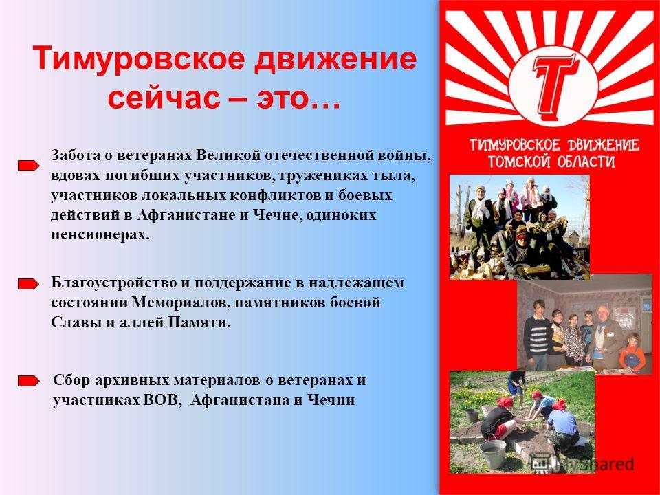 Тимуровское движение сейчас – это… Забота о ветеранах Великой отечественной войны, вдовах погибших участников, тружениках тыла, участников локальных конфликтов и боевых действий в Афганистане и Чечне, одиноких пенсионерах. Благоустройство и поддержан