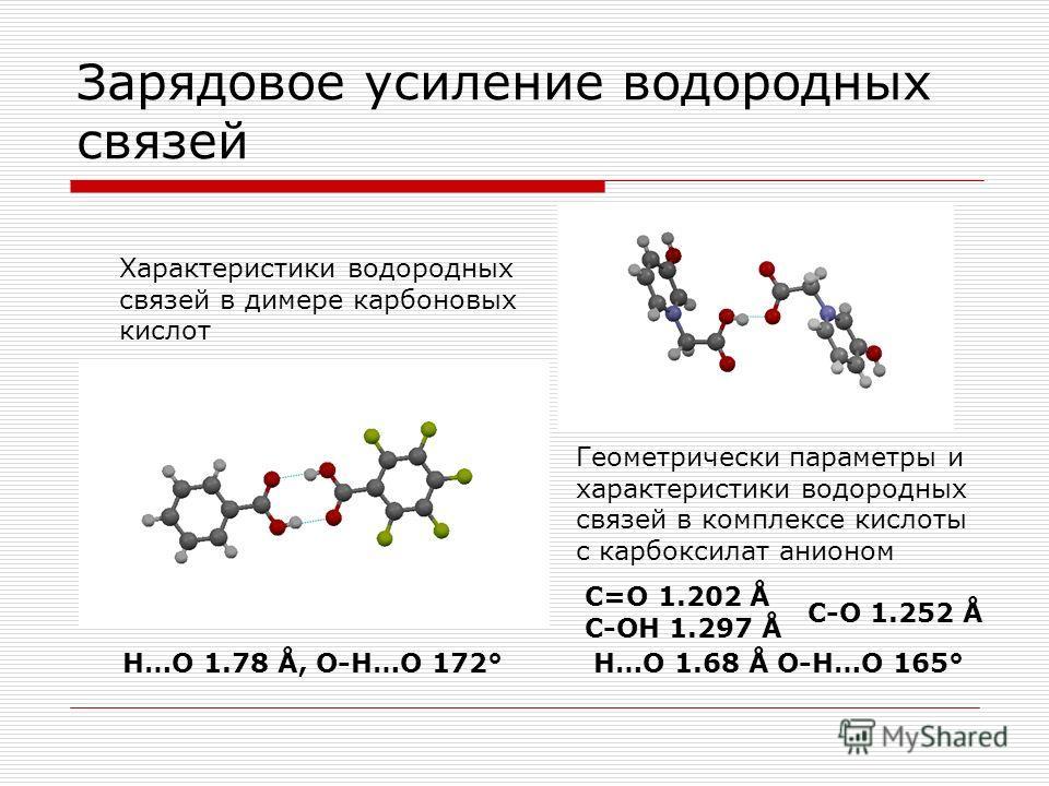 Зарядовое усиление водородных связей Характеристики водородных связей в димере карбоновых кислот Геометрически параметры и характеристики водородных связей в комплексе кислоты с карбоксилат анионом H…O 1.78 Å, O-H…O 172° C=O 1.202 Å C-OH 1.297 Å C-O