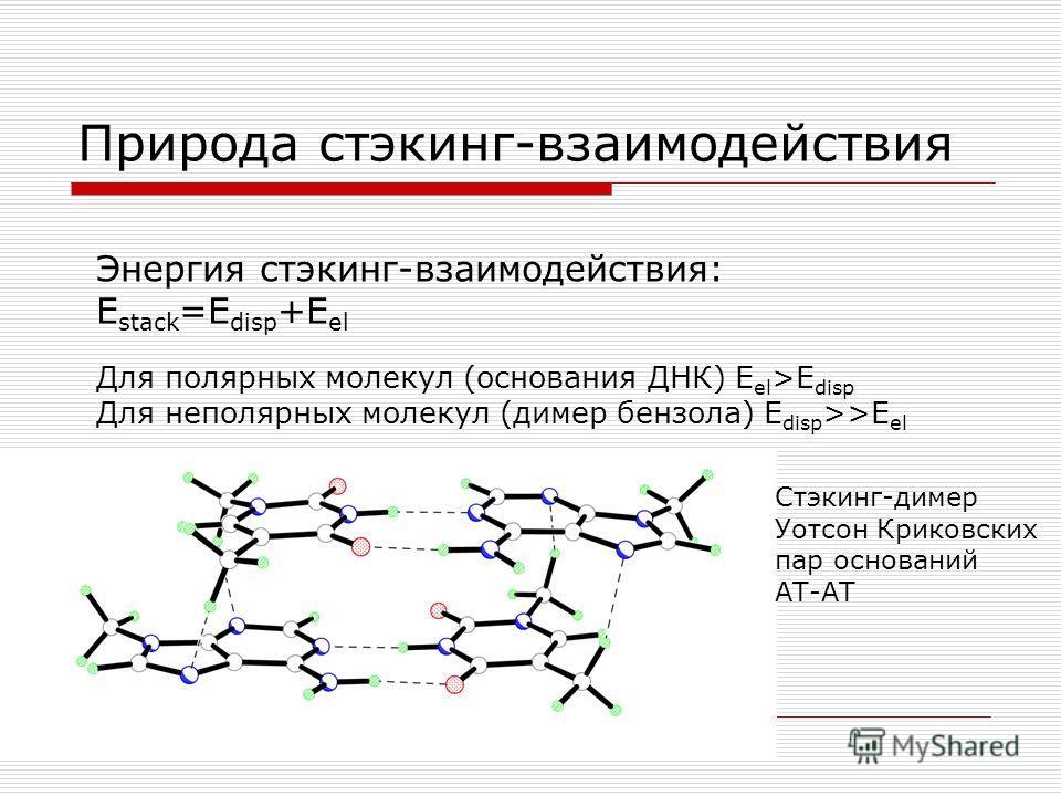 Природа стэкинг-взаимодействия Энергия стэкинг-взаимодействия: E stack =E disp +E el Для полярных молекул (основания ДНК) E el >E disp Для неполярных молекул (димер бензола) E disp >>E el Стэкинг-димер Уотсон Криковских пар оснований АТ-АТ