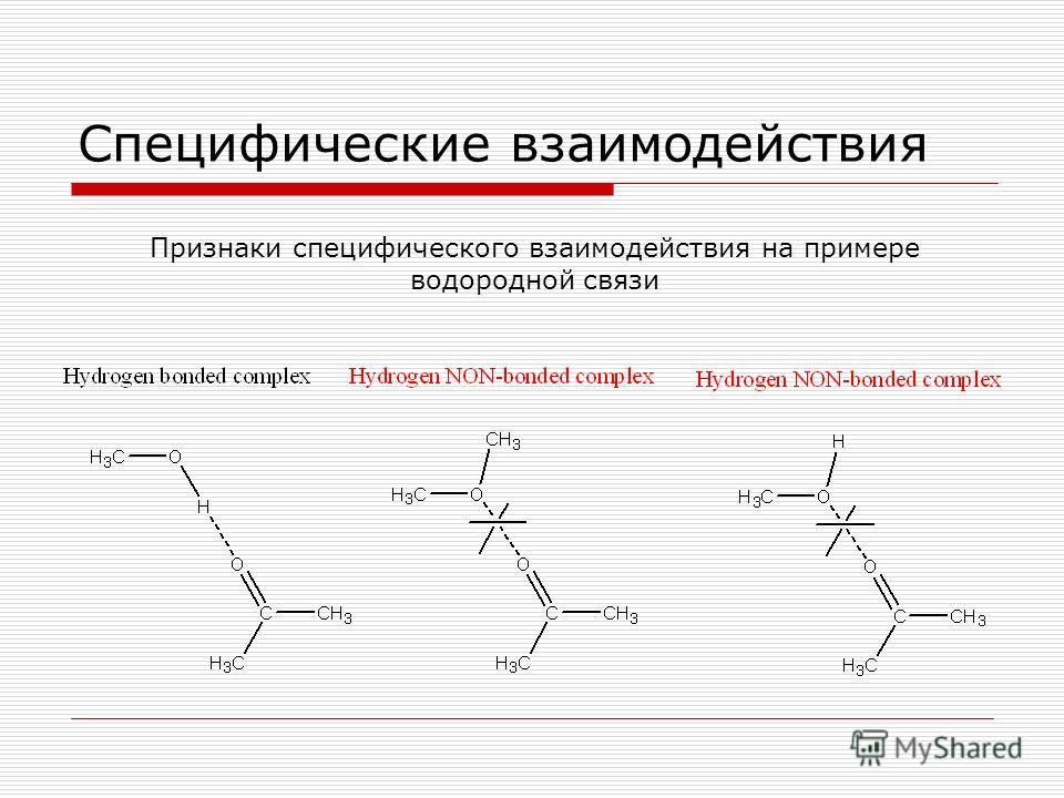 Специфические взаимодействия Признаки специфического взаимодействия на примере водородной связи