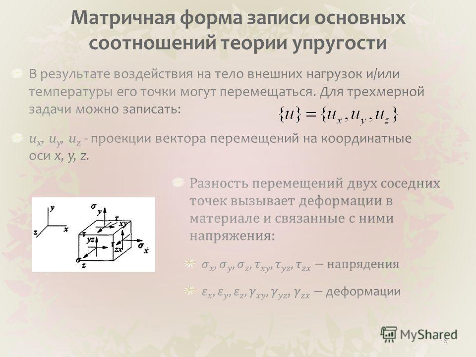 Матричная форма записи основных соотношений теории упругости 16
