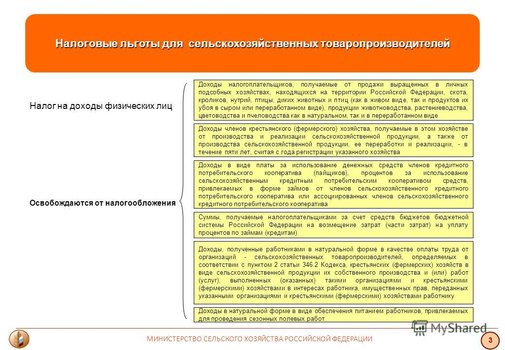 Налоговые льготы для сельскохозяйственных товаропроизводителей Налог на доходы физических лиц Освобождаются от налогообложения Доходы налогоплательщиков, получаемые от продажи выращенных в личных подсобных хозяйствах, находящихся на территории Россий