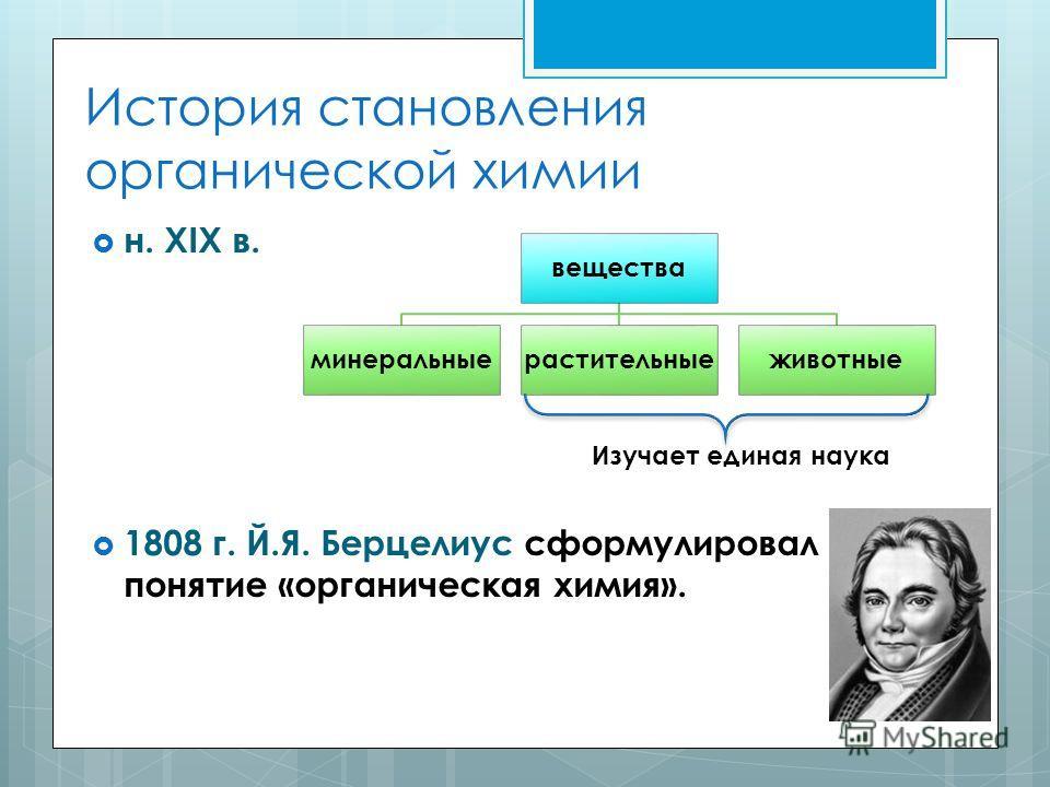 История становления органической химии н. XIX в. 1808 г. Й.Я. Берцелиус сформулировал понятие «органическая химия». вещества минеральныерастительныеживотные Изучает единая наука
