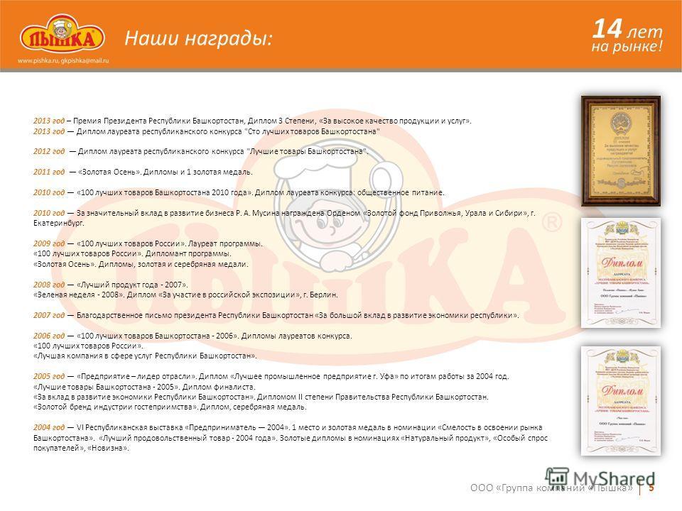 Наши награды: 2013 год – Премия Президента Республики Башкортостан, Диплом 3 Степени, «За высокое качество продукции и услуг». 2013 год Диплом лауреата республиканского конкурса