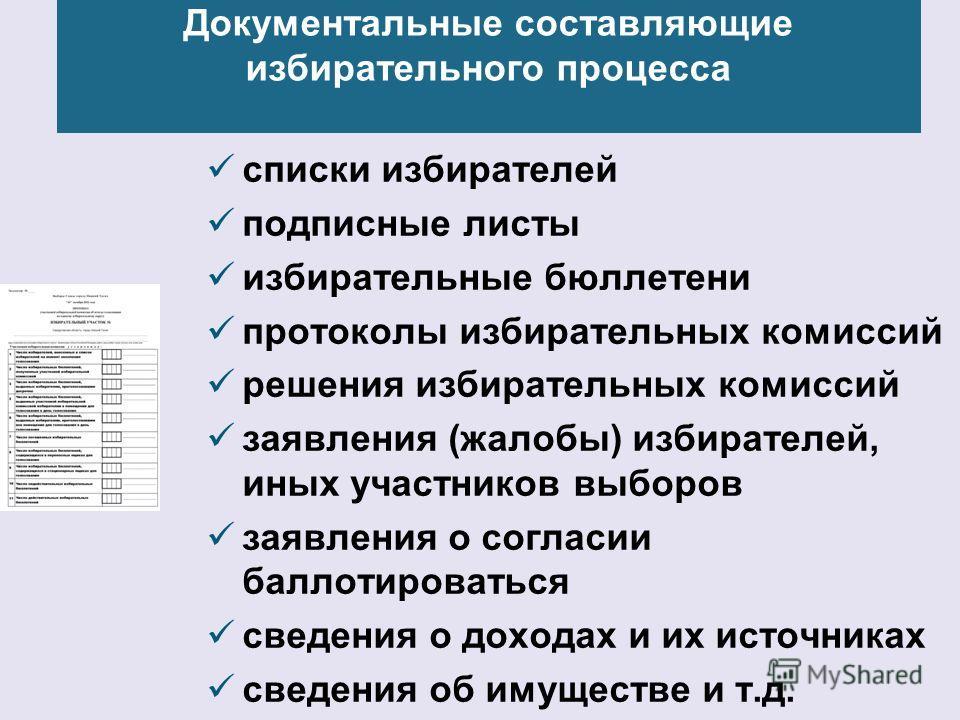 Документальные составляющие избирательного процесса списки избирателей подписные листы избирательные бюллетени протоколы избирательных комиссий решения избирательных комиссий заявления (жалобы) избирателей, иных участников выборов заявления о согласи