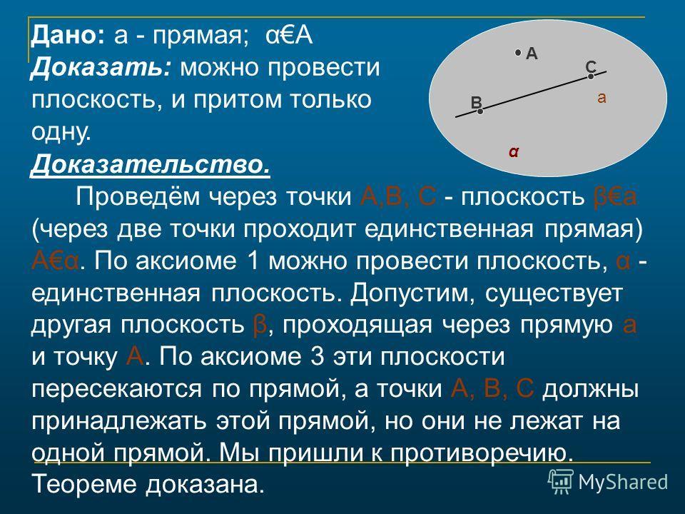 Доказательство. Проведём через точки А,В, С - плоскость βа (через две точки проходит единственная прямая) Аα. По аксиоме 1 можно провести плоскость, α - единственная плоскость. Допустим, существует другая плоскость β, проходящая через прямую а и точк