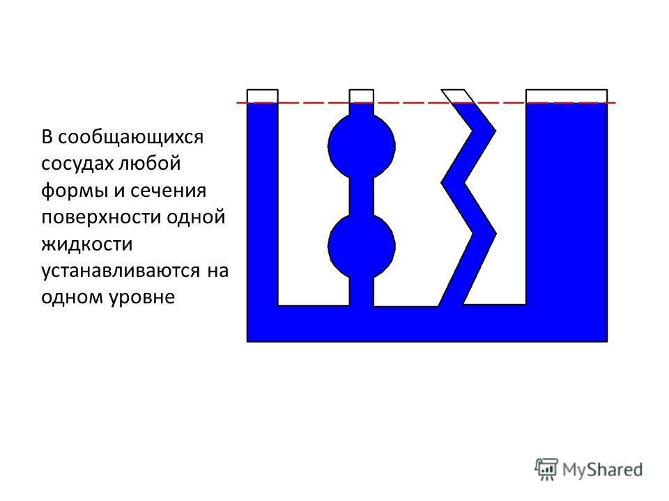 В сообщающихся сосудах любой формы и сечения поверхности одной жидкости устанавливаются на одном уровне