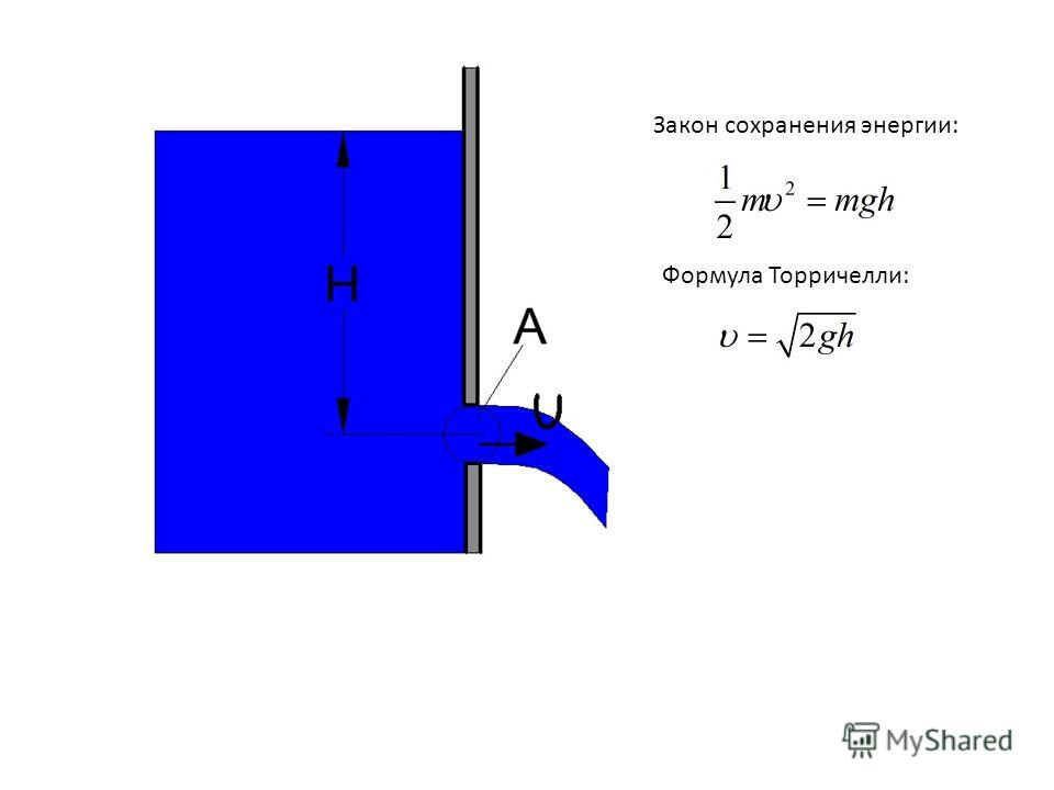 Закон сохранения энергии: Формула Торричелли: