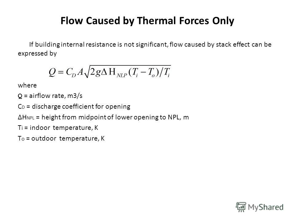 Flow Caused by Thermal Forces Only If building internal resistance is not significant, flow caused by stack effect can be expressed by where Q = airflow rate, m3/s C D = discharge coefficient for opening ΔH NPL = height from midpoint of lower opening