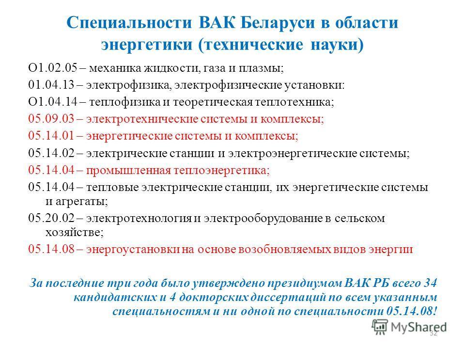 Специальности ВАК Беларуси в области энергетики (технические науки) О1.02.05 – механика жидкости, газа и плазмы; 01.04.13 – электрофизика, электрофизические установки: О1.04.14 – теплофизика и теоретическая теплотехника; 05.09.03 – электротехнические