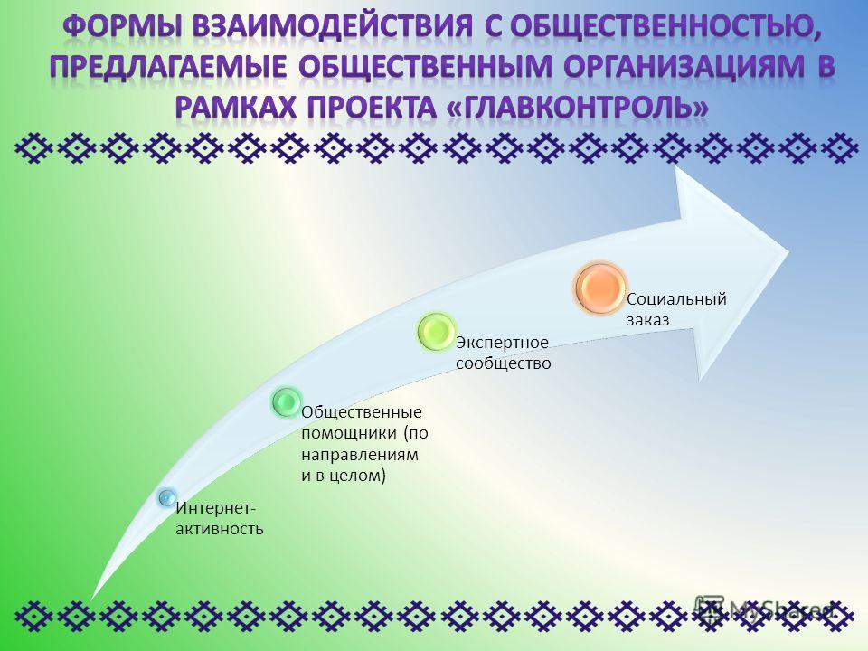 Интернет- активность Общественные помощники (по направлениям и в целом) Экспертное сообщество Социальный заказ