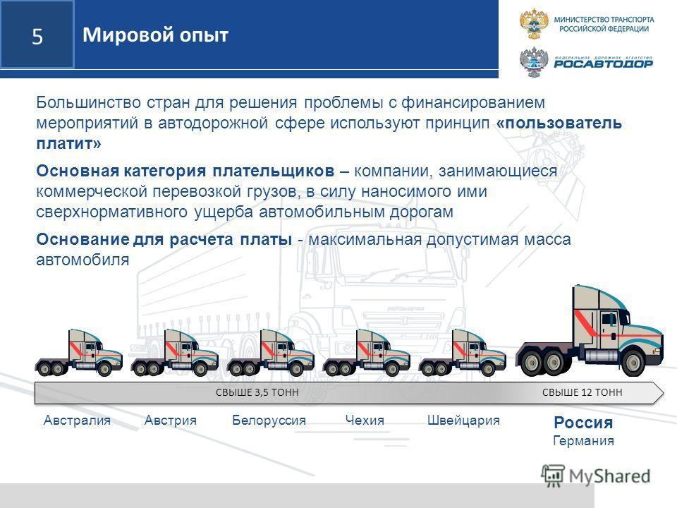 5 Мировой опыт Большинство стран для решения проблемы с финансированием мероприятий в автодорожной сфере используют принцип «пользователь платит» Основная категория плательщиков – компании, занимающиеся коммерческой перевозкой грузов, в силу наносимо