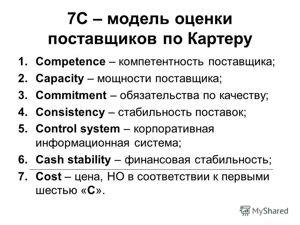 7С – модель оценки поставщиков по Картеру 1.Competence – компетентность поставщика; 2.Capacity – мощности поставщика; 3.Commitment – обязательства по качеству; 4.Consistency – стабильность поставок; 5.Control system – корпоративная информационная сис