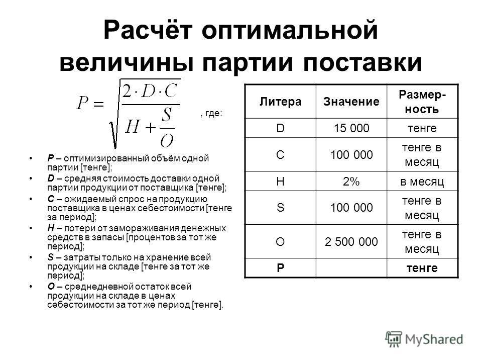 Расчёт оптимальной величины партии поставки, где: P – оптимизированный объём одной партии [тенге]; D – средняя стоимость доставки одной партии продукции от поставщика [тенге]; C – ожидаемый спрос на продукцию поставщика в ценах себестоимости [тенге з