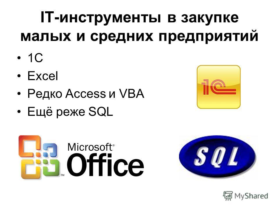 IT-инструменты в закупке малых и средних предприятий 1С Excel Редко Access и VBA Ещё реже SQL