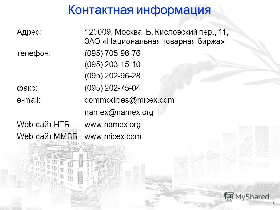 9 Контактная информация Адрес:125009, Москва, Б. Кисловский пер., 11, ЗАО «Национальная товарная биржа» телефон:(095) 705-96-76 (095) 203-15-10 (095) 202-96-28 факс:(095) 202-75-04 e-mail:commodities@micex.com namex@namex.org Web-сайт НТБwww.namex.or