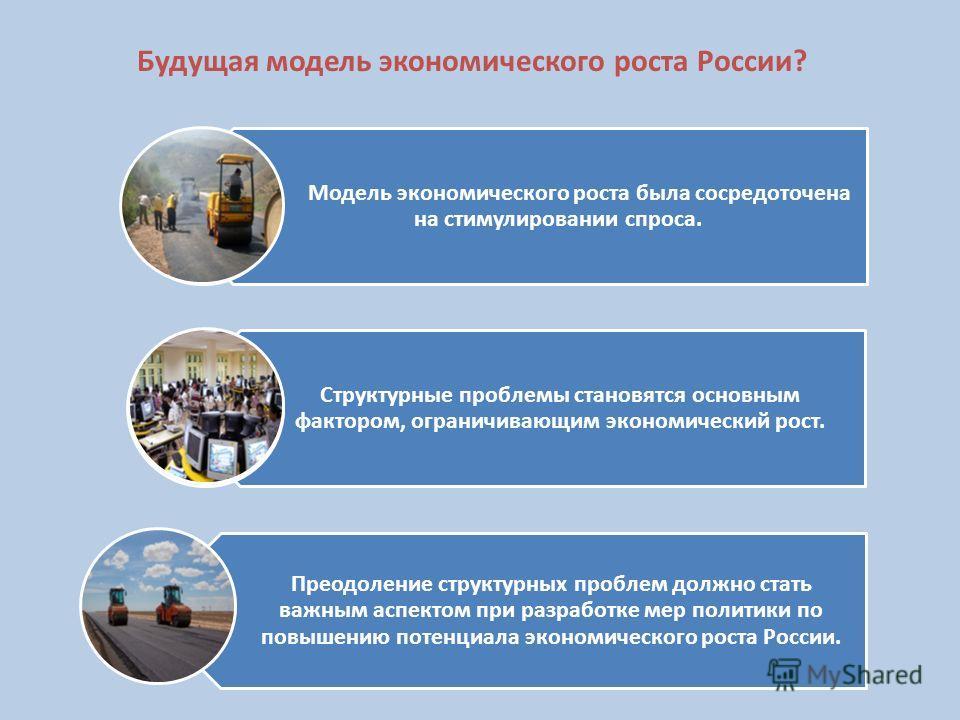 Будущая модель экономического роста России? Модель экономического роста была сосредоточена на стимулировании спроса. Структурные проблемы становятся основным фактором, ограничивающим экономический рост. Преодоление структурных проблем должно стать ва