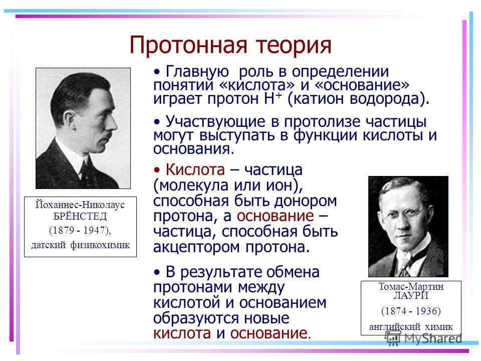 Протонная теория Йоханнес-Николаус БРЁНСТЕД (1879 - 1947), датский физикохимик Томас-Мартин ЛАУРИ (1874 - 1936) английский химик Главную роль в определении понятий «кислота» и «основание» играет протон H + (катион водорода). Участвующие в протолизе ч