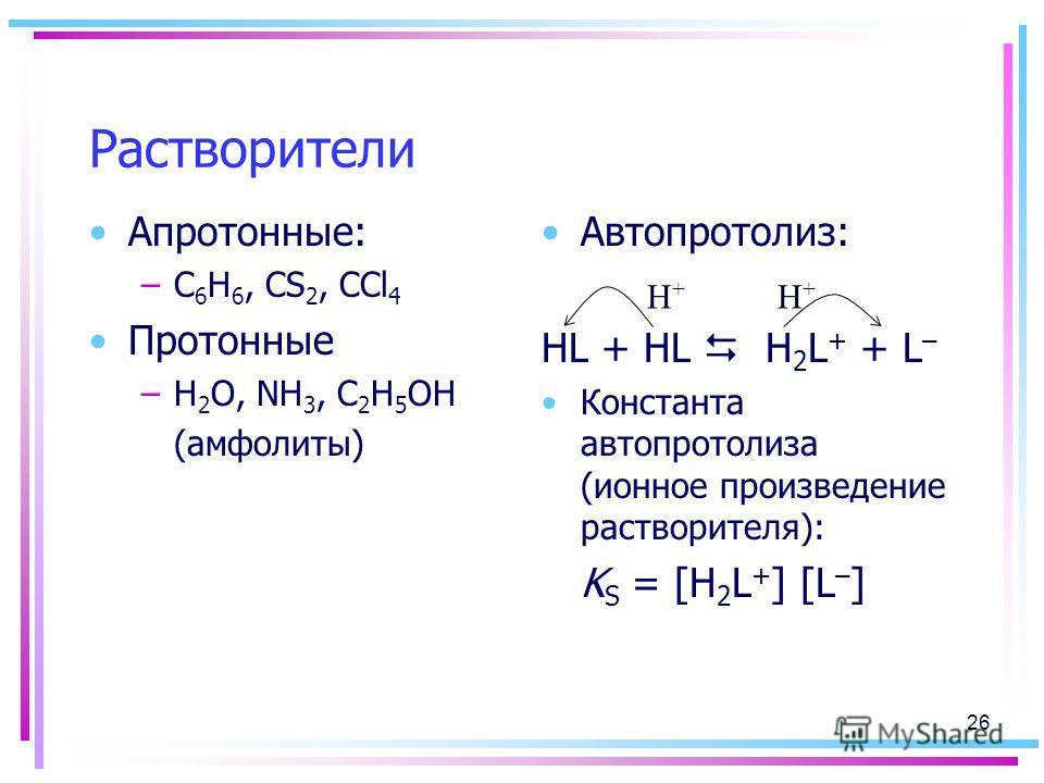 Растворители Апротонные: –C 6 H 6, CS 2, CCl 4 Протонные –H 2 O, NH 3, C 2 H 5 OH (амфолиты) Автопротолиз: HL + HL H 2 L + + L – Константа автопротолиза (ионное произведение растворителя): K S = [H 2 L + ] [L – ] H+H+ H+H+ 26