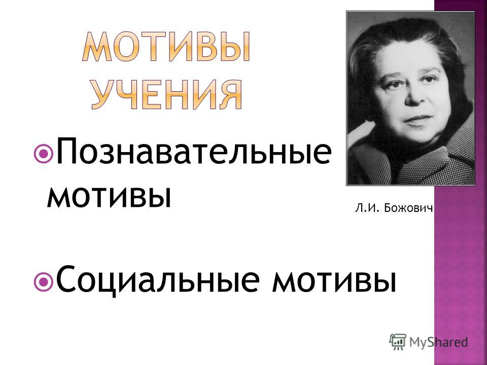Познавательные мотивы Социальные мотивы Л.И. Божович