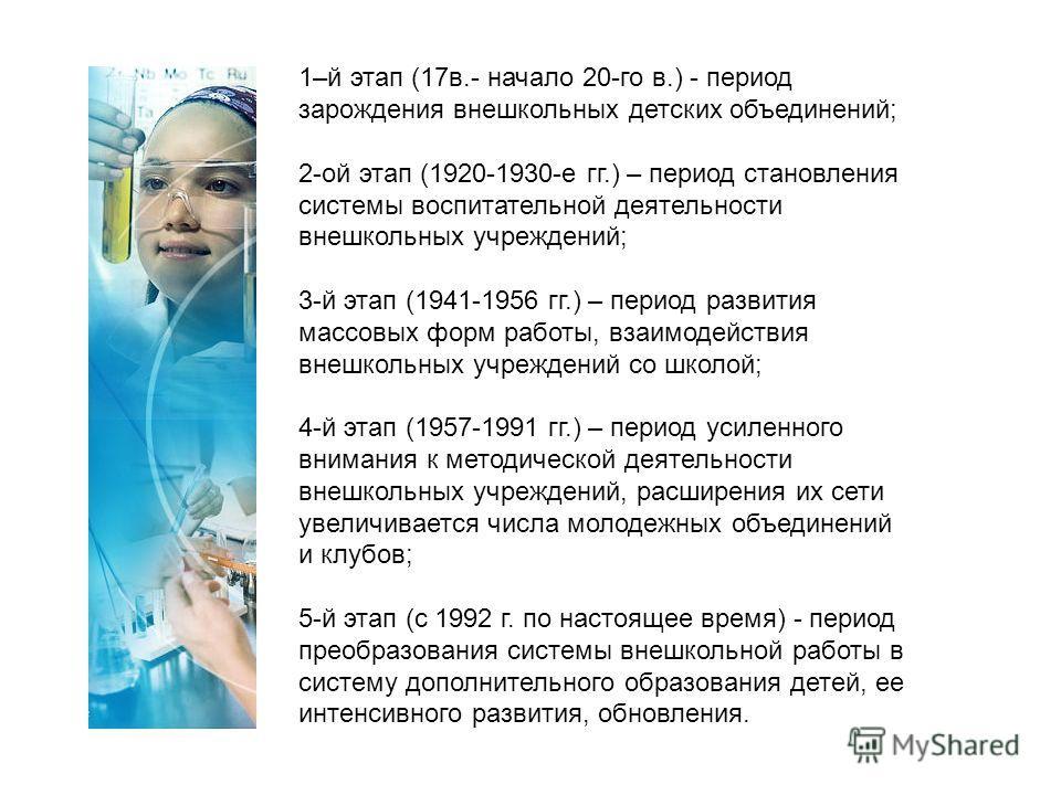 1–й этап (17в.- начало 20-го в.) - период зарождения внешкольных детских объединений; 2-ой этап (1920-1930-е гг.) – период становления системы воспитательной деятельности внешкольных учреждений; 3-й этап (1941-1956 гг.) – период развития массовых фор