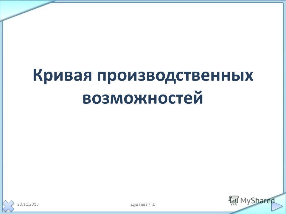 Кривая производственных возможностей 20.11.2013Дудаева Л.В