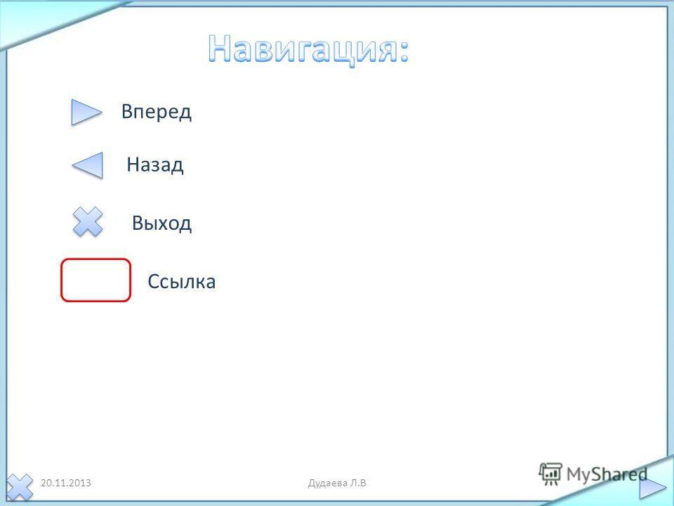20.11.2013Дудаева Л.В Вперед Назад Выход Ссылка