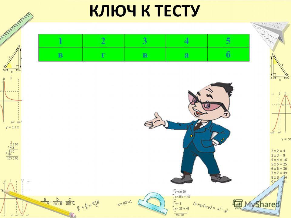КЛЮЧ К ТЕСТУ 12345 вгваб