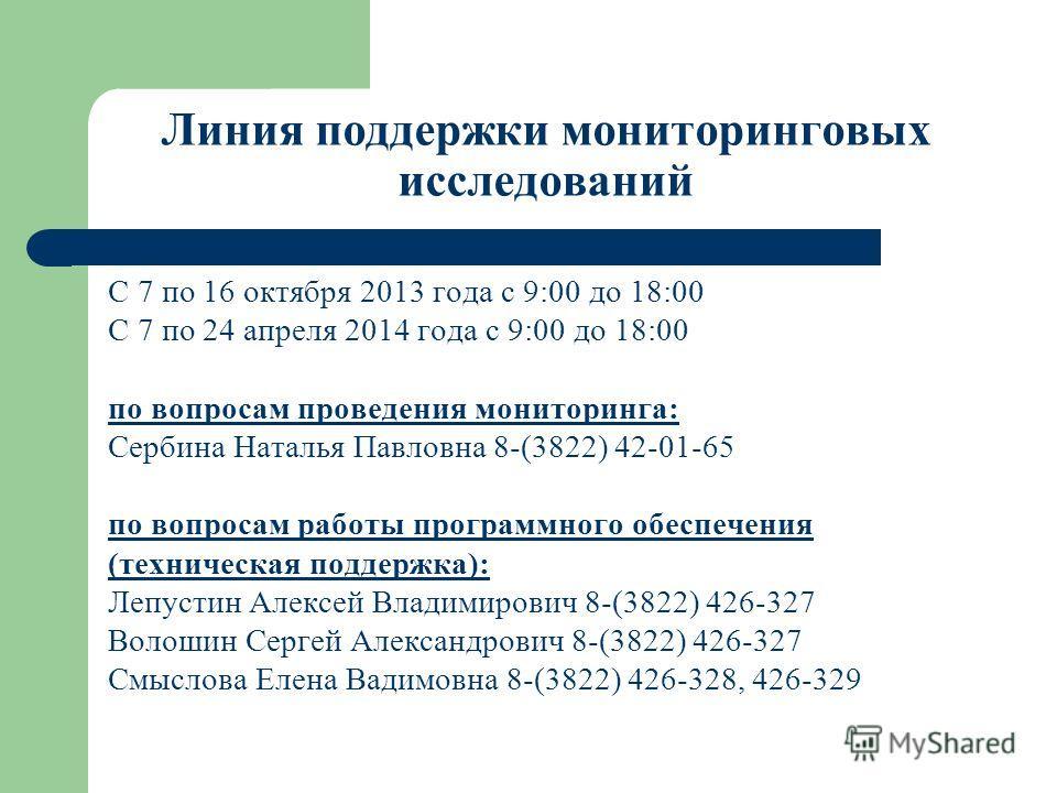 Линия поддержки мониторинговых исследований С 7 по 16 октября 2013 года с 9:00 до 18:00 С 7 по 24 апреля 2014 года с 9:00 до 18:00 по вопросам проведения мониторинга: Сербина Наталья Павловна 8-(3822) 42-01-65 по вопросам работы программного обеспече
