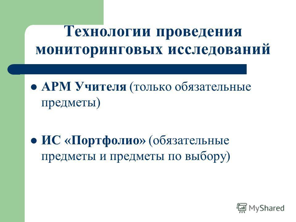 Технологии проведения мониторинговых исследований АРМ Учителя (только обязательные предметы) ИС «Портфолио» (обязательные предметы и предметы по выбору)