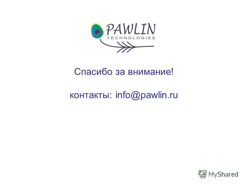 Спасибо за внимание! контакты: info@pawlin.ru